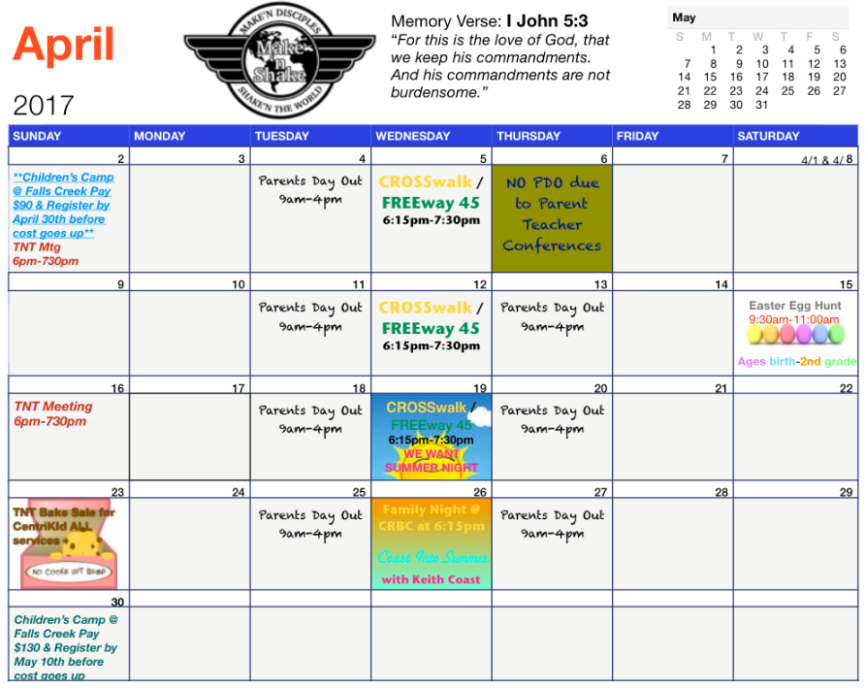 April Children S Calendar Choctaw Road Baptist Church